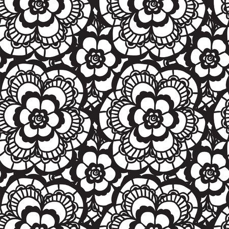 lacy: Lace black seamless pattern with flowers on white background