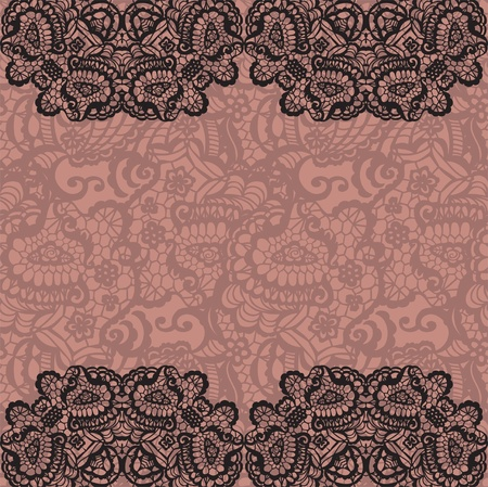 black lace: Horizontal seamless background with a floral ornament Illustration