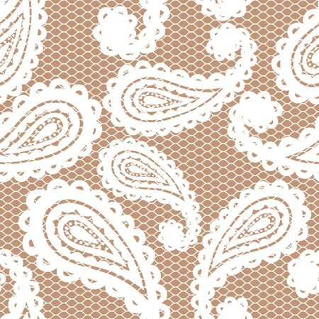 Lace white seamless pattern with paisley on beige background Vector