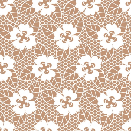 Lace white seamless pattern with flowers on beige background Vector