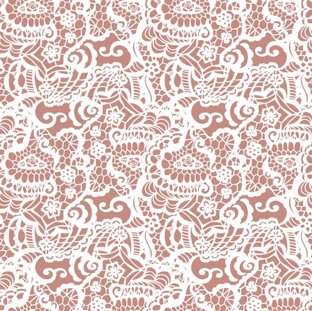 lace pattern: Lace seamless pattern with flowers on beige background