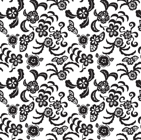 Elegant seamless pattern with black flowers on white background Stock Vector - 21060686