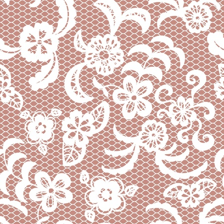 paper dresses: Lace seamless pattern with flowers on beige background