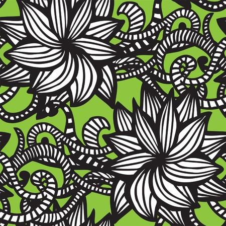 grunge floral: Elegant seamless pattern with  flowers on green background