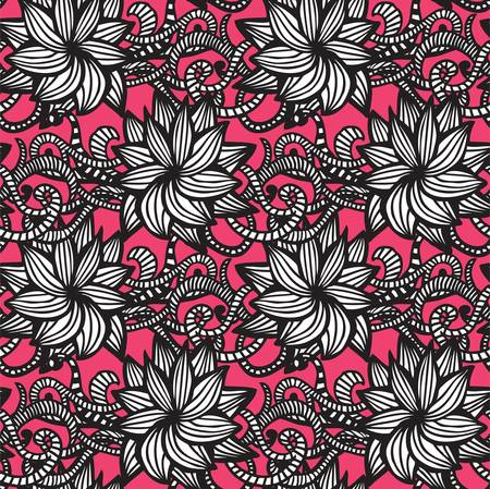 Elegant seamless pattern with  flowers on pink background Vector