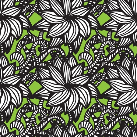 Elegant seamless pattern with  flowers on green background Stock Vector - 21185897