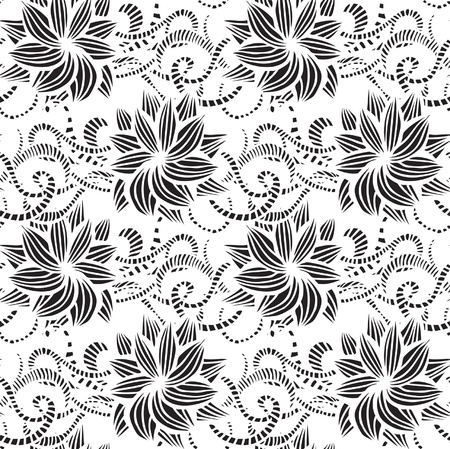 leaf curl: Hand-drawn seamless pattern may be used as background