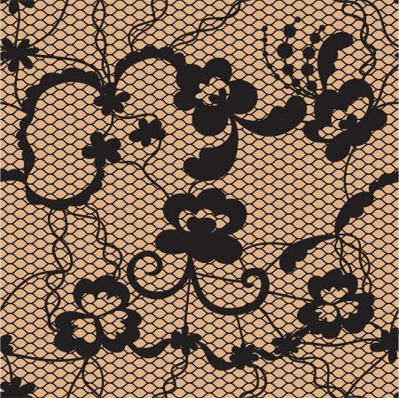 classic woman: Lace black seamless pattern with flowers on white background