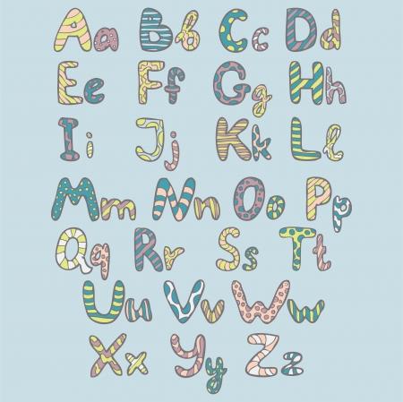 Funny alphabet. Vector illustration. Vector