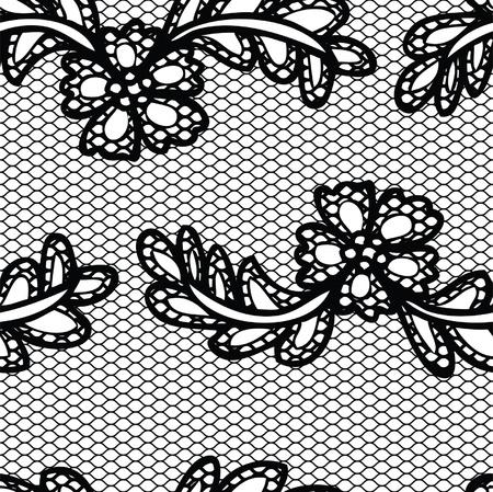 Encaje sin patr?n negro con flores sobre fondo blanco