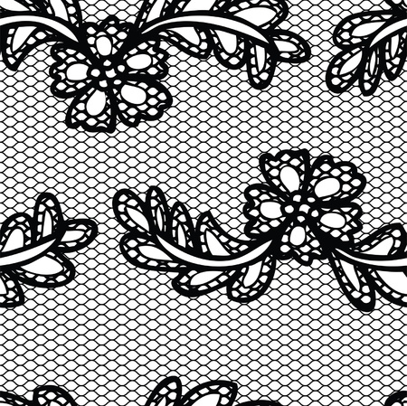 Lace black seamless pattern with flowers on white background Vector