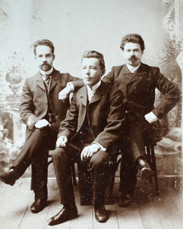 ancestors: RUSSIAN EMPIRE - CIRCA 1910 Vintage photo shows three young friends