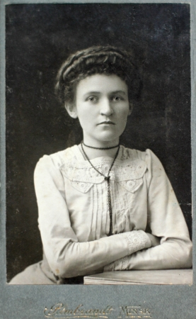 old photograph: MINSK, RUSSIAN EMPIRE - CIRCA 1910  Vintage photo of young woman