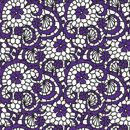 needlecraft: Lace seamless pattern with flowers on white background