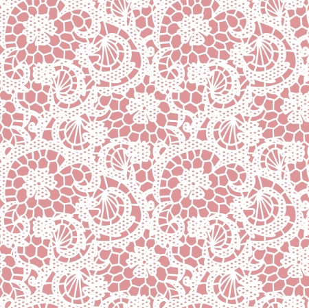 Lace seamless pattern with flowers on pink background Stock Vector - 21604567