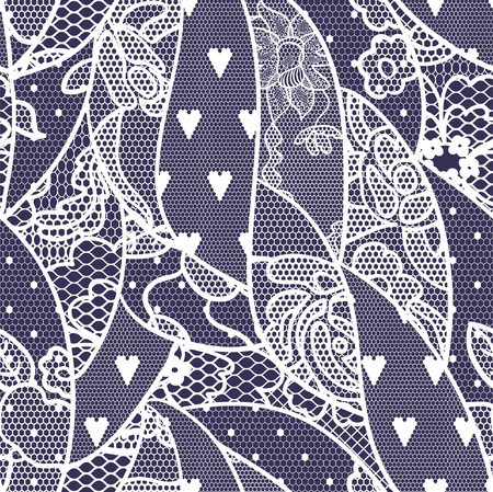 Lace seamless pattern with flowers on navy background Vector