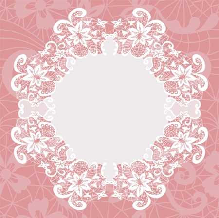 lace frame: Elegant doily on lace gentle background for scrapbooks Illustration