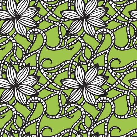 Elegant seamless pattern with  flowers on green background Stock Vector - 21604581