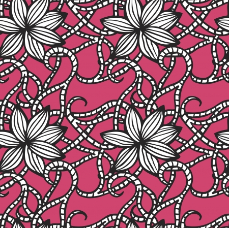 Elegant seamless pattern with  flowers on pink background Stock Vector - 21604576