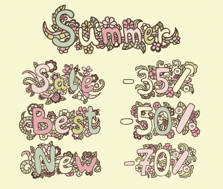 SUMMER, SALE, BEST, NEW, -35%, -50%, - 70% Vector