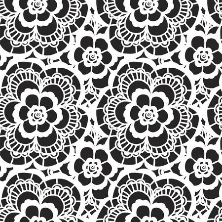 Dentelle blanche seamless avec des fleurs sur fond noir Banque d'images - 21604621