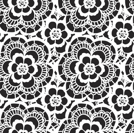White lace seamless pattern with flowers on black background