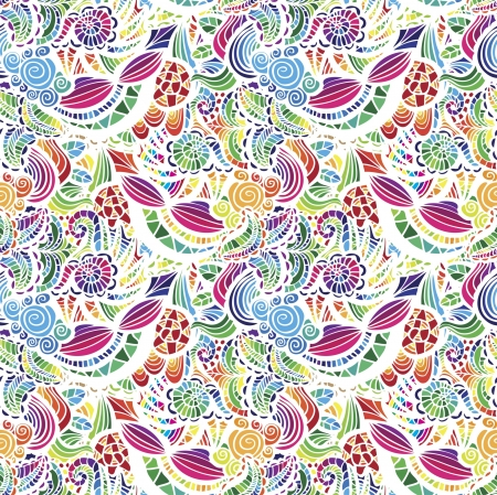 tissue texture: Mosaic vector seamless  pattern with flowers