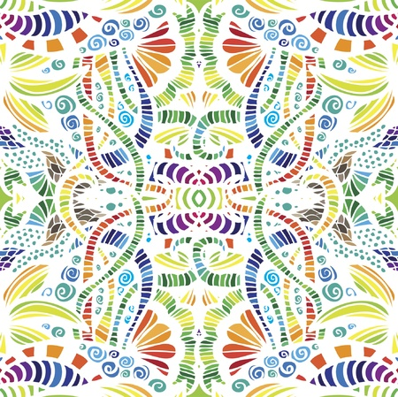 repeating pattern: Mosaic vector seamless  pattern with flowers