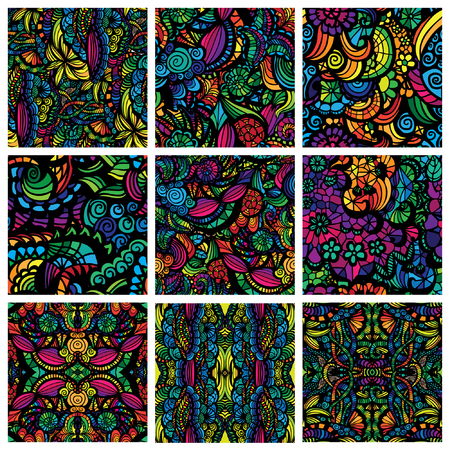 Hand-drawn seamless patterns may be used as background. Vector