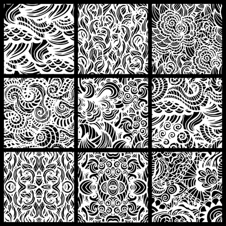 Hand-drawn seamless patterns may be used as background  Vector