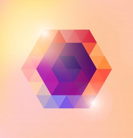 Abstract shiny gexagonal shape  Vector template  Vettoriali