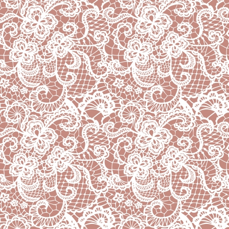 Lace seamless pattern with flowers on beige background Imagens - 24118086