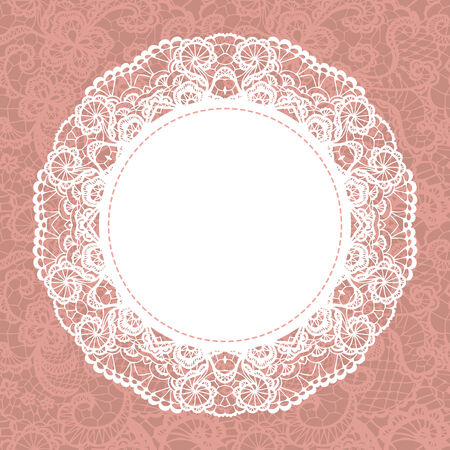 Elegant doily on lace gentle background  Scrapbook element  Vector