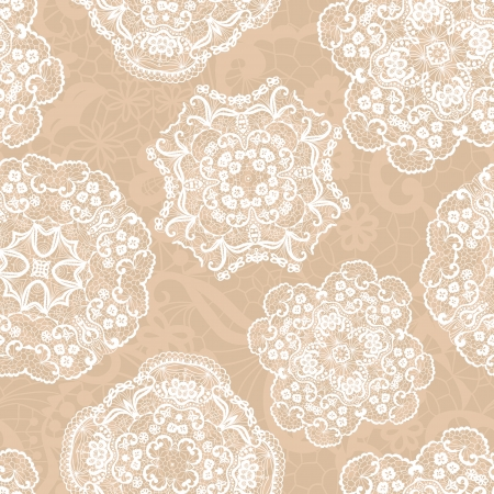 Lace seamless pattern with doilies on beige background