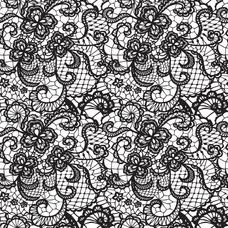 fondos negros: Encaje sin patr�n negro con flores sobre fondo blanco Vectores