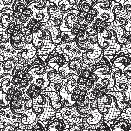 abstrakte muster: Lace Schwarz nahtlose Muster mit Blumen auf weißem Hintergrund Illustration