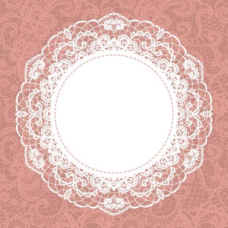 Elegant doily on lace gentle background  Scrapbook element  Vector