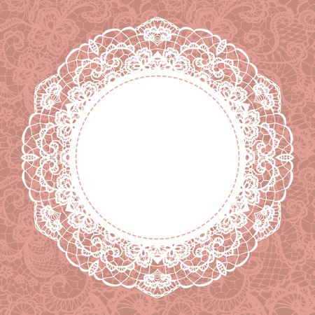 lace: Elegant doily on lace gentle background  Scrapbook element