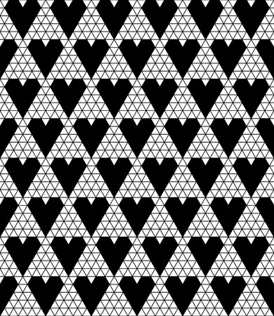 monochromic: Black lace vector fabric seamless pattern with hearts Illustration