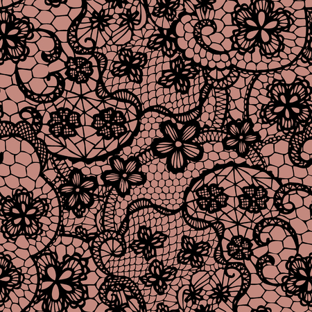 Lace black seamless pattern with flowers  Vector illustration