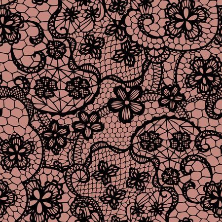 dekorativa mönster: Spets svart sömlösa mönster med blommor Vektor illustration