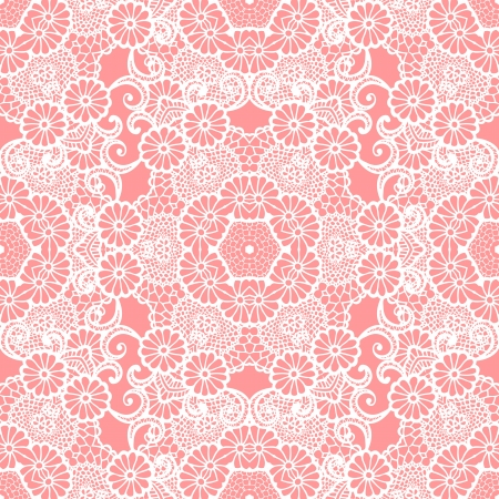 Lace seamless pattern with flowers on gentle pink  Illustration
