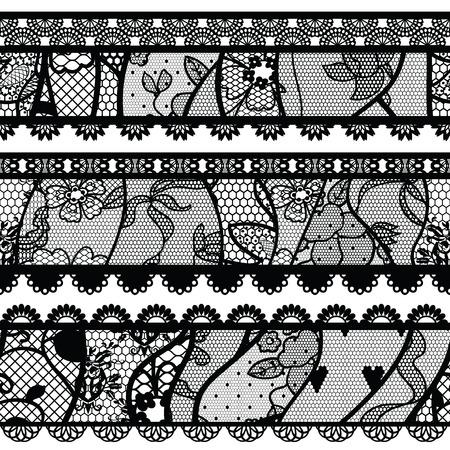 Set of lacy vintage trims. illustration. Vector