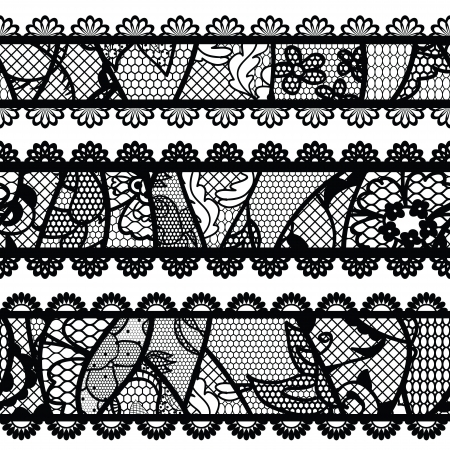 Set of lacy vintage trims illustration  Vector