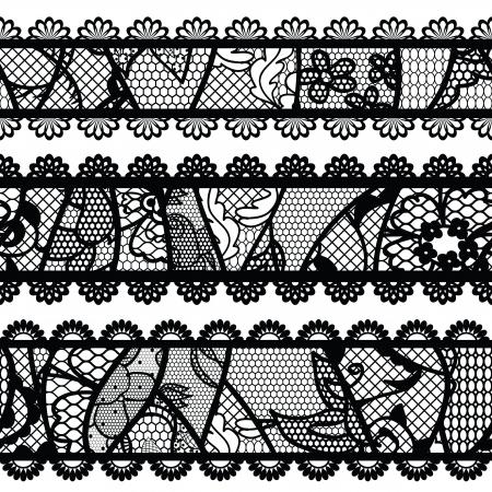 Set of lacy vintage trims illustration  Vector