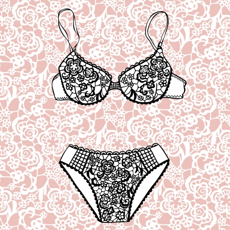 Lacy bra and panties Vector illustration