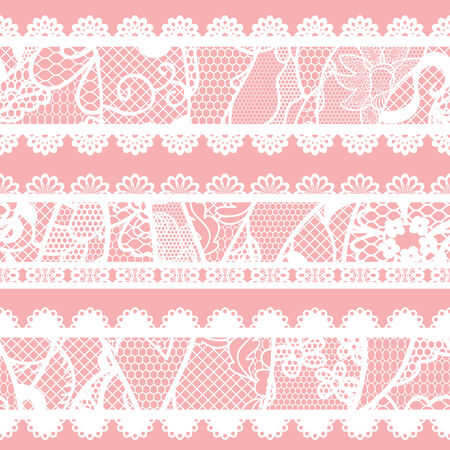 Set of lacy vintage trims  Vector illustration  Vector