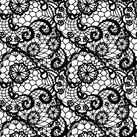 Encaje sin patrón negro con flores sobre fondo blanco Vectores