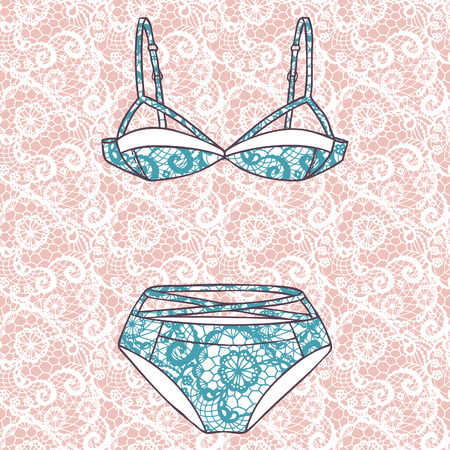 brassiere: Lacy sexy bra and panties  Vector illustration