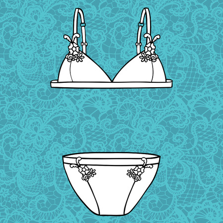 Lacy sexy bra and panties  Vector illustration  Vector